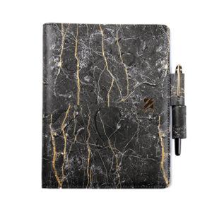 工商日誌,黑色大理石紋手冊,雙孔造型筆插,正面