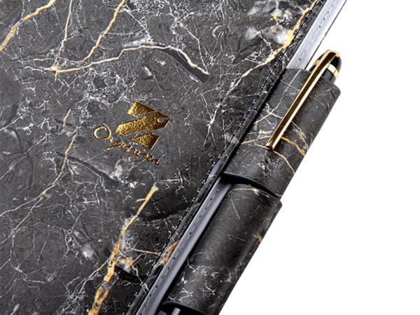 工商日誌,黑色大理石紋手冊,雙孔造型筆插
