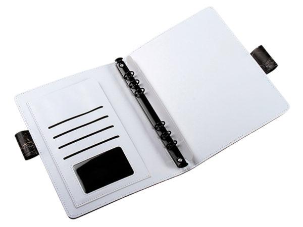 工商日誌,黑色大理石紋手冊,雙孔造型筆插,展開插袋功能
