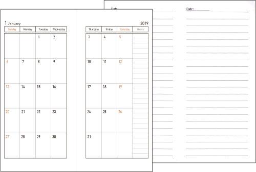 48內芯版型,版型:月計劃+MEMO ● 雙色印刷