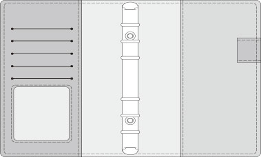 48kCOVER 2&3活頁筆記本口袋/夾層版型樣式,48-6(Q 15mm)